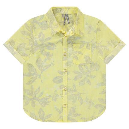 Chemise manches courtes avec imprimé végétal all-over
