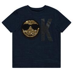 Tee-shirt manches courtes en jersey avec motif ©Smiley en sequins magiques