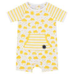 Combinaison courte en coton avec nuages et soleils printés