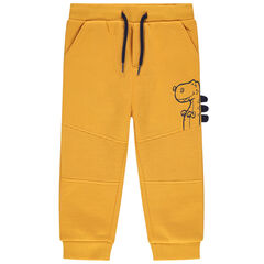 Pantalon de jogging en molleton uni jaune print dinosaure