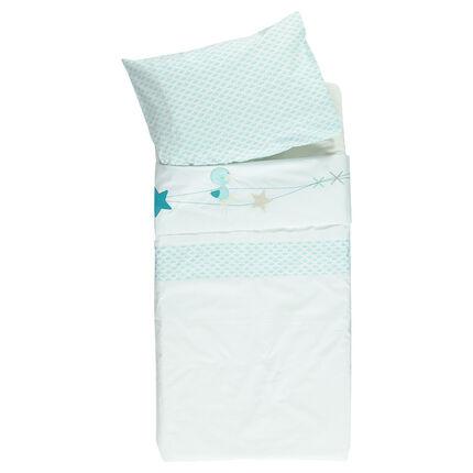 Parure drap de berceau + taie d'oreiller avec broderies fantaisie - 113 x 83 cm