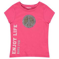 Tee-shirt manches courtes avec motif en sequins magiques et inscription