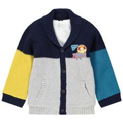 Gilet en tricot fantaisie doublé sherpa badges avions