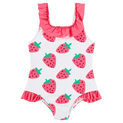 Maillot de bain 1 pièce avec fraises printées et volants