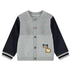 Gilet en tricot fantaisie avec badges patchés et manches en molleton