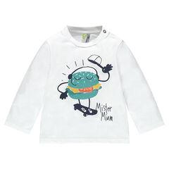 Tee-shirt manches longues en jersey avec hamburger printé