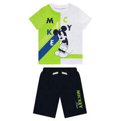 Ensemble avec tee-shirt manches courtes print Mickey et bermuda