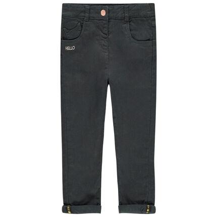Pantalon uni doublé jersey avec poche forme chat