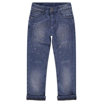 jeans effet used doubl jersey avec effet de taches de peinture orchestra fr. Black Bedroom Furniture Sets. Home Design Ideas