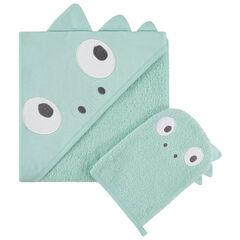 Set de bain avec cape à capuche intégrée et gant motif dinosaure