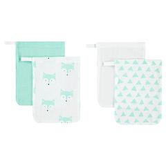 Set de 4 gants de toilettes assortis