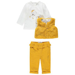 Ensemble avec t-shirt manches longues print souris, gilet en fausse fourrure et pantalon en velours