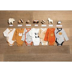 Lot de 7 bodies manches longues en coton bio print animaux , Orchestra