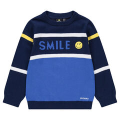 Pull en tricot avec inscription en jacquard et badge ©Smiley