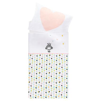 Parure de berceau drap print princesse + taie d'oreiller - 113 x 83 cm