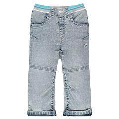 Jeans effet neige à taille élastiquée
