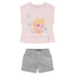Ensemble avec tee-shirt forme boîte ©Disney print Reine des neiges avec short en jersey