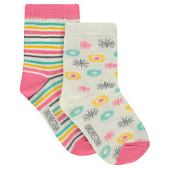 Lot de 2 paires de chaussettes à motif all-over / rayées