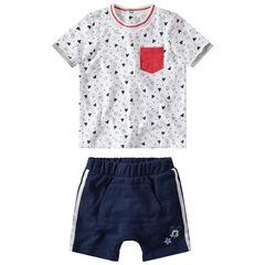 Ensemble t-shirt print Mickey Disney et short en molleton à bandes contrastées