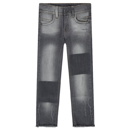 Junior - Jeans coupe slim effet used avec usures fantaisie