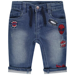 Bermuda en molleton effet jean used à broderies Spiderman