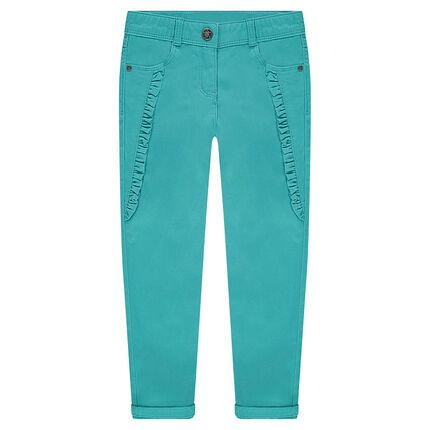 Pantalon en satin de coton bleu turquoise avec motifs brodés