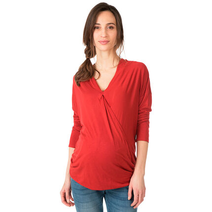 Tee-shirt de grossesse manches longues col V