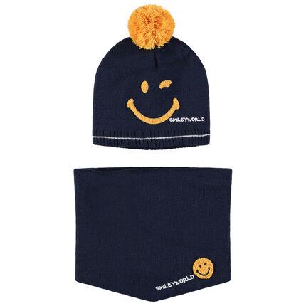 Ensemble bonnet et snood en tricot doublé sherpa Smiley