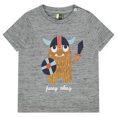 Tee-shirt manches courtes en jersey slub avec viking printé