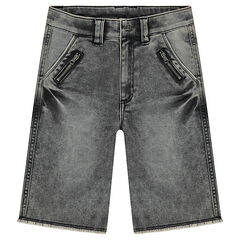 Junior - Bermuda en denim like effet used avec poches zippées