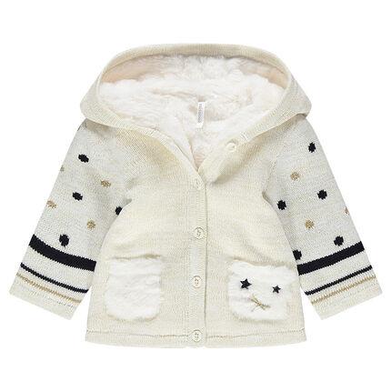 Veste à capuche en tricot avec motifs graphiques doublé sherpa