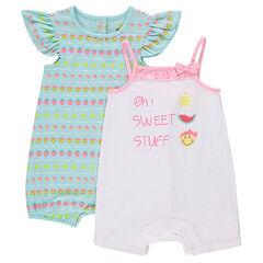 Lot de 2 combinaisons courtes en jersey avec print fantaisie ©Smiley
