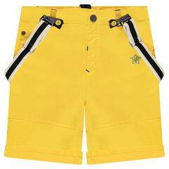 Bermuda jaune avec bretelles amovibles et broderies ©Disney Mickey