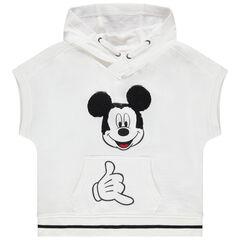 Sweat en molleton à capuche manches courtes print Mickey en sequins