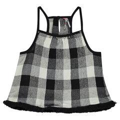 Junior -  Top à bretelles imprimé carreaux et détails franges