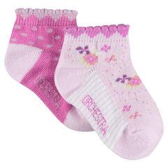 Lot de 2 paires de chaussettes assorties avec bord-côte fantaisie