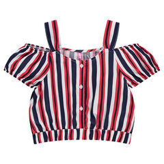 Junior - Crop-top à rayures et épaules ajourées