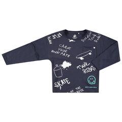 T-shirt manches longues en jersey à messages et Smiley printés