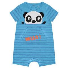 Combinaison courte en jersey slub avec panda en relief et dos pressionné