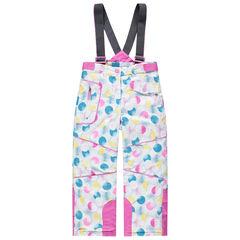 Pantalon de ski à pois colorés avec bretelles amovibles et poches