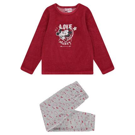 Pyjama en velours avec print Mickey et Minnie