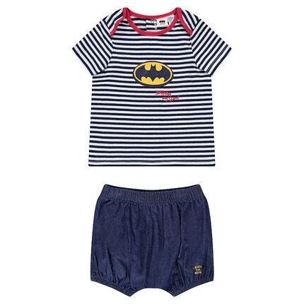 Tee-shirt manches courtes rayé avec bloomer en chambray JUSTICE LEAGUE - CHIBI print Batman