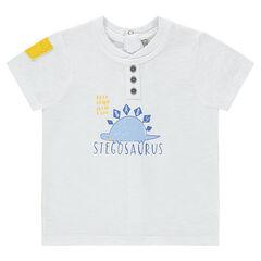 Tee-shirt manches courtes avec print dinosaure et poche contrastée