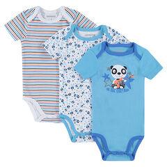 72ce3dfa02228 ... 6 mois; 9 mois; 12 mois; 18 mois; 23 mois; 36 mois. Lot de 3 bodies  manches courtes avec imprimés différents