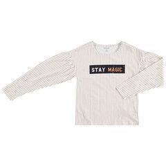 Junior - T-shirt manches longues à fines rayures avec message printé