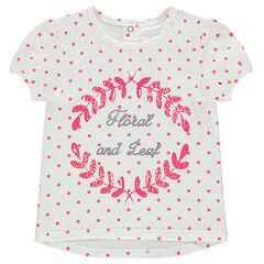 Tee-shirt manches courtes avec pois all-over et motif printé sur le devant