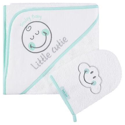 Set de bain avec cape et gant de toilette Smiley Boy