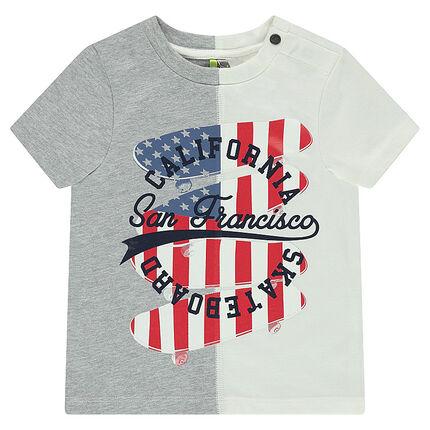 Tee-shirt manches courtes en jersey bicolore avec skateboards printés