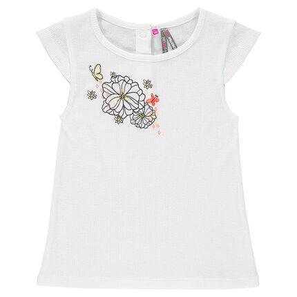 Tee-shirt manches courtes à côtes avec print fleurs