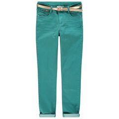 Junior - Pantalon uni bleu avec ceinture dorée amovible